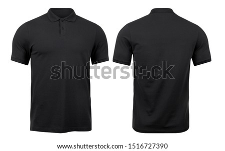 Black polo shirts mockup front and back used as design template, isolated on white background with clipping path. #1516727390