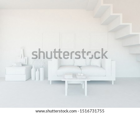 Model of a modern white living room interior with stairs, furniture on the floor, decor on the large wall and white landscape in window. Home nordic interior. 3D illustration #1516731755