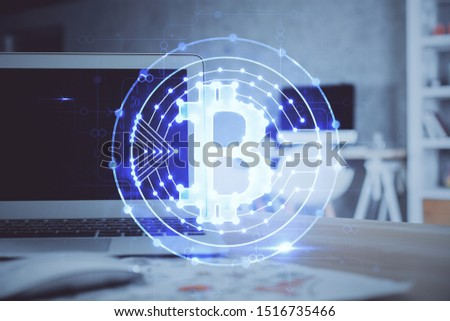 Multi exposure of blockchain theme hologram and table with computer background. Concept of bitcoin crypto currency. #1516735466