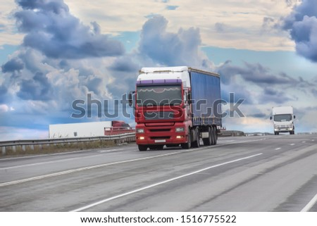 trucks moves on the country highway #1516775522
