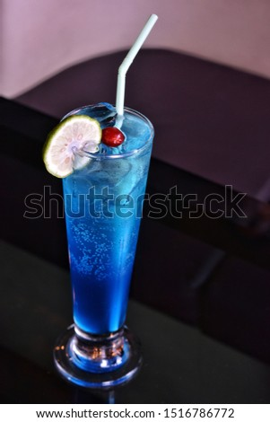 In Frame- Blue Butterfly  Soda based mocktail. Basically known as Blue Lagoon #1516786772