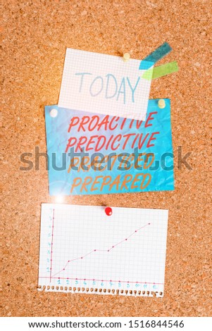 Handwriting text Proactive Predictive Practiced Prepared. Concept meaning Preparation Strategies Management Corkboard color size paper pin thumbtack tack sheet billboard notice board. #1516844546