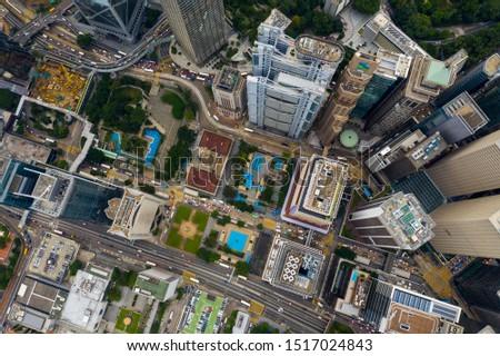 Central, Hong Kong 24 September 2019: Drone fly over Hong Kong city #1517024843