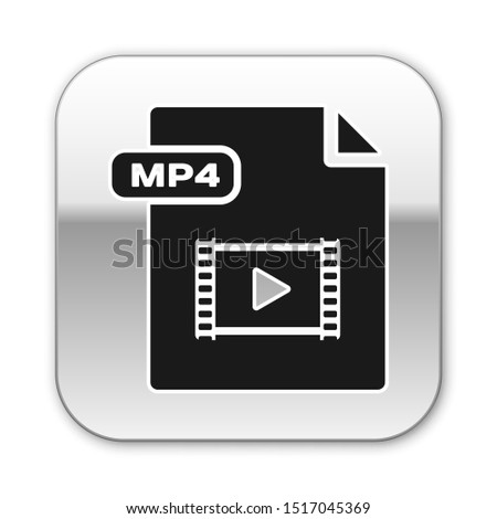 Black MP4 file document. Download mp4 button icon isolated on white background. MP4 file symbol. Silver square button. Vector Illustration