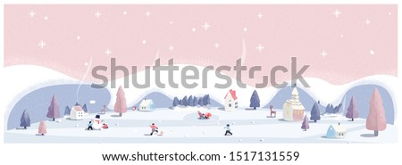 Panoramic vector illustration of winter wonderland in pink pastel background.The cute small village in Christmas day with snow.Kids playing outside with snowman and snowball.Minimal winter landscape. #1517131559