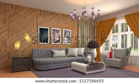 Interior of the living room. 3D illustration. #1517186693