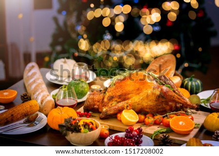 Traditional Stuffed Turkey with side dishes corn bread and pumpking pie for holiday dinner Thanksgiving Roast Turkey Dinner #1517208002