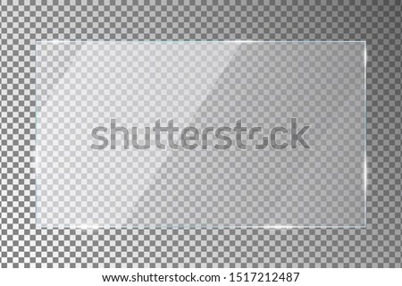 Glass plate on transparent background. Acrylic or plexiglass plates with gleams and light reflections in rectangle shape. Vector illustration. #1517212487