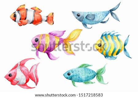 Watercolor hand draw illustration set with orange and red, blue and green, yellow and purple fishes; with white isolated background