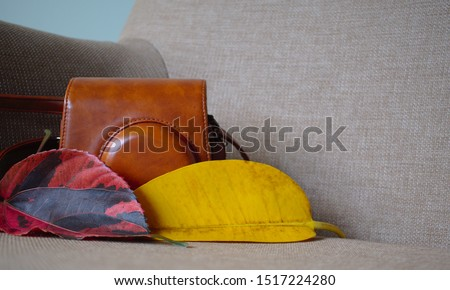Closeup of brown camera leather case with red and yellow autumn leaves on the gray armchair. Photography hobby gear. Taken from the low angle perspective. #1517224280
