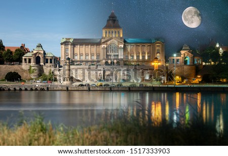Day and night view from across the river to the illuminated historic center. Odra river. Chrobry embankments in Szczecin Royalty-Free Stock Photo #1517333903