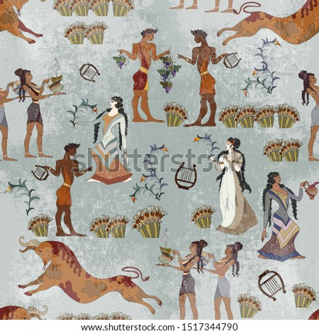 Minoan civilization seamless pattern. Ancient Crete culture. Heraklion. Ancient Greece frescos. Jumping bulls and goddesses. Knossos murals mythology #1517344790