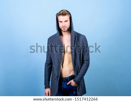 Brute masculinity extremely commanding looking conventionally handsome. Man well groomed handsome hooded clothes. Unconventional but masculine look. Masculinity concept. Masculinity and confidence. #1517412266
