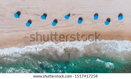 Aerial View on Beach coastline and Atlantic Ocean in Weekend day in Delray Beach, Florida. Drone Beach Landscape. #1517417258