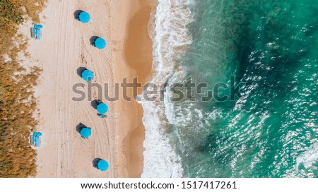 Aerial View on Beach coastline and Atlantic Ocean in Weekend day in Delray Beach, Florida. Drone Beach Landscape. #1517417261