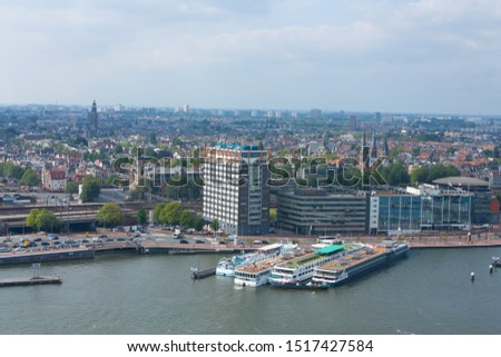 Amsterdam, Netherlands,08/30/2019. Aerial view of Amsterdam city. #1517427584