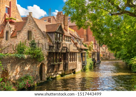 Classic view of the historic city center of Bruges (Brugge), West Flanders province, Belgium. Cityscape of Bruges. Architecture and landmark of Bruges #1517443499