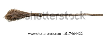 Broom from rods with wooden handle. Isolate on white background. #1517464433
