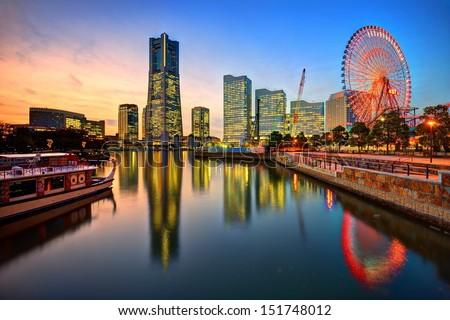 Yokohama, Japan skyline at Minato-mirai at sunset.