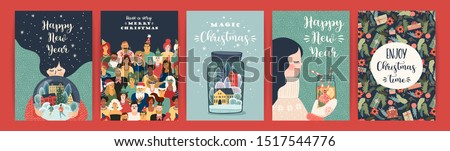 Set of Christmas and Happy New Year illustrations. Trendy retro style. Vector design templates. #1517544776