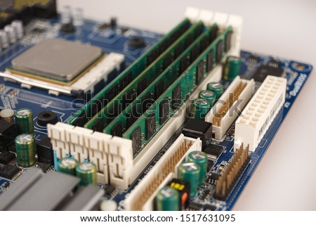 computer RAM, system, main memory, random access memory, onboard, computer detail, close-up, high resolution, installed on socket of motherboard #1517631095
