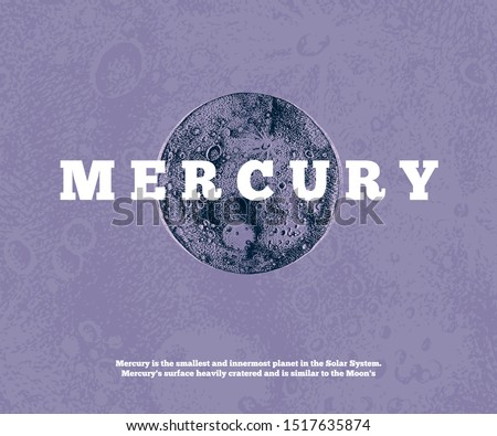 Background with hand drawn Mercury planet. Vector illustration