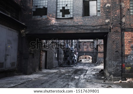 Old abandoned factory. Gothic background. Scary place. Post apocalyptic landscape. Halloween party place. Abandoned buiding. Industrial background #1517639801