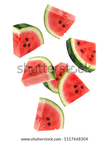 Falling watermelon isolated on white background, clipping path, full depth of field #1517668304