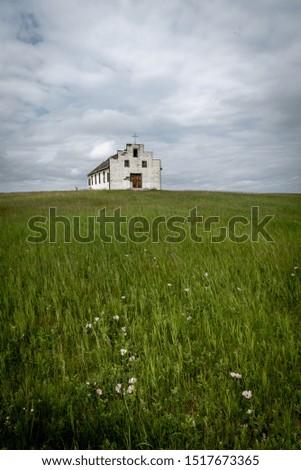 Old abandoned rural church in rural Alberta. #1517673365