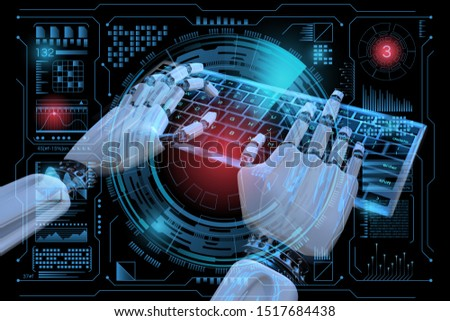 Ai mind Robot cyborg hand using computer. Hands of Robotic typing on keyboard. 3d render realistic illustration. #1517684438