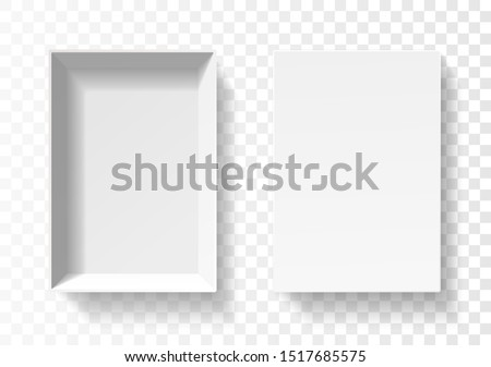 Open pack box for phone . Empty cardboard container template. 3d top view illustration with transporented shadow isolated on white. Blank space inside pakage mockup. Closeup realistic vector object. #1517685575
