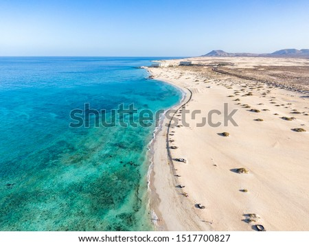 Panoramic high angle aerial drone view of Corralejo National Park (Parque Natural de Corralejo) with sand dunes located in the northeast corner of the island of Fuerteventura, Canary Islands, Spain. #1517700827