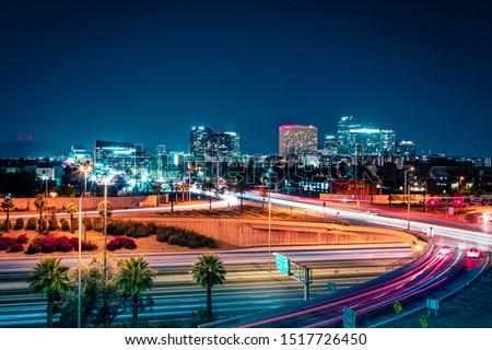 Downtown Phoenix, Arizona at Night Royalty-Free Stock Photo #1517726450