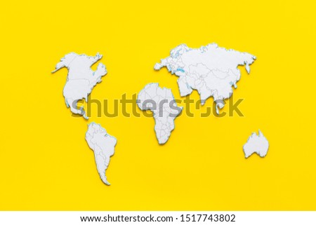 Planning a travel concept. Sketchy map of the world on yellow background top view #1517743802