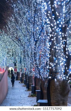 Roppongi Hills winter illumination festival ( Keyakizaka Galaxy Illuminations ), beautiful view, popular tourist attractions, travel destinations for holiday, famous events in Tokyo city, Japan #1517757092