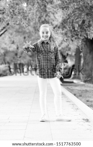 Childhood activities that will never grow old. Happy little child wearing casual plaid design for playing outdoor. Childhood activity on summer day. Happy childhood. Childhood concept. #1517763500