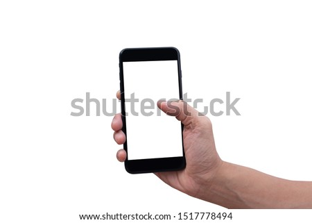 Mockup of person showing blank screen smartphone. Man hand using mobile phone isolated on white background. #1517778494