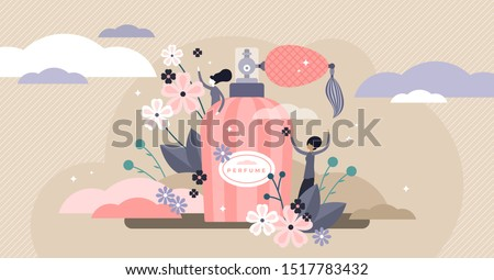 Perfume vector illustration. Flat tiny aroma spray product persons concept. Vintage bottle and hygiene fragrance for good body smell. Liquid female fresh flower cosmetics deodorant as elegant gift. Royalty-Free Stock Photo #1517783432