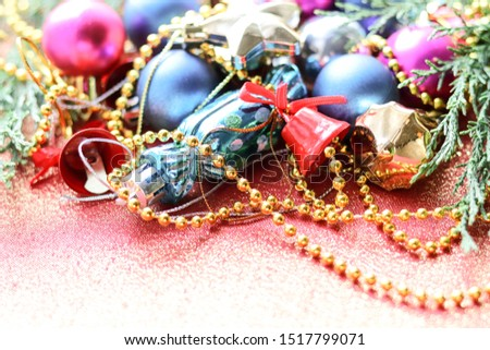Christmas card. Christmas background. Christmas decorations and an envelope on a red background #1517799071