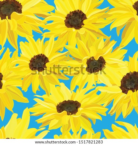 seamless pattern of large bright yellow sunflower flowers on a delicate blue background #1517821283