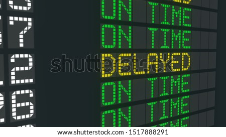 On time flight sign airport table, international arrivals schedule status change #1517888291