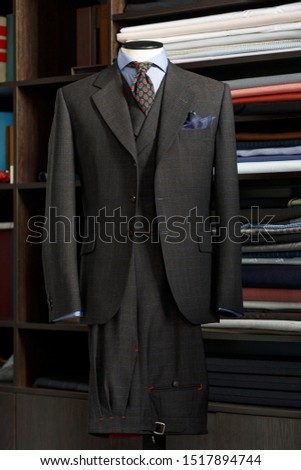 Mannequin with bespoke jacket in traditional technique of tailoring. Men's Clothing #1517894744