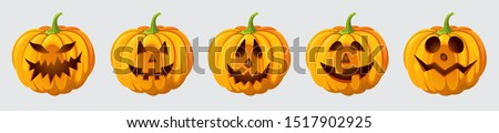Halloween pumpkin set with cut out faces . High quality realistic vector clipart icons. Trick or treat event decoration #1517902925