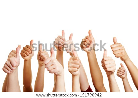 Many people congratulate a winner and holding their thumbs up Royalty-Free Stock Photo #151790942