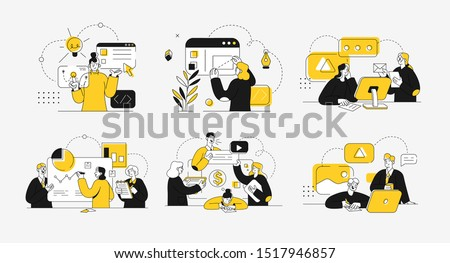Business concept illustrations. Collection of scenes at office with men and women taking part in business activity. Outline vector illustration. #1517946857