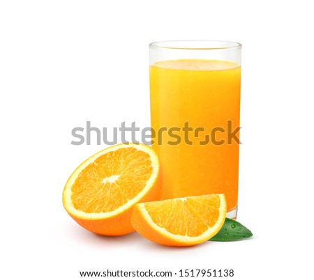 Glass of 100% Orange juice in tall glass with pulp and sliced fruits isolate on white background. #1517951138