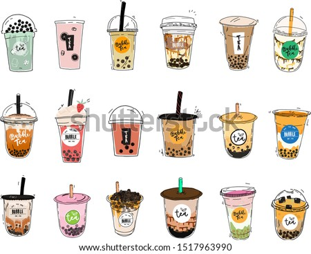 Bubble tea cup design collection, Pearl milk tea, Taiwan milk tea,Yummy drinks, coffees and soft drinks with doodle style set. - Vector #1517963990