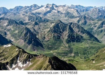 View of the Pyrenees from the Pic du Midi (Tourmalet, Europe)
