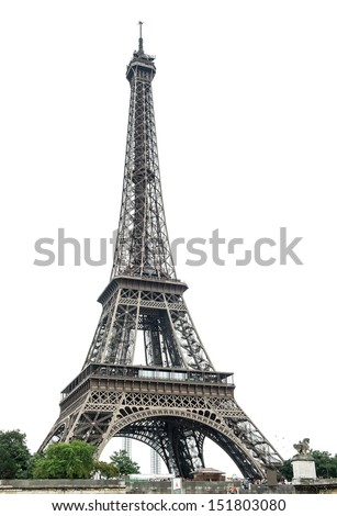 Eiffel Tower (La Tour Eiffel) over white background. Champ de Mars, Paris, Europe