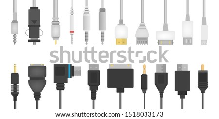 Cable wire set. Collection of audio and video connector. Computer technology. Isolated vector illustration in flat style #1518033173